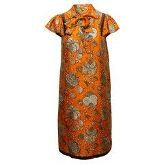 Gucci Orange & Multicolor Silk Seashell Print Dress