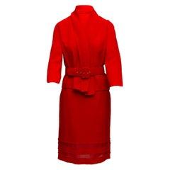 Oscar de la Renta Red Jacket & Skirt Set