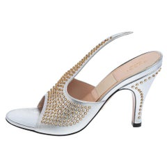 Gucci Silver Leather Fedra Embellished Mules Size 38