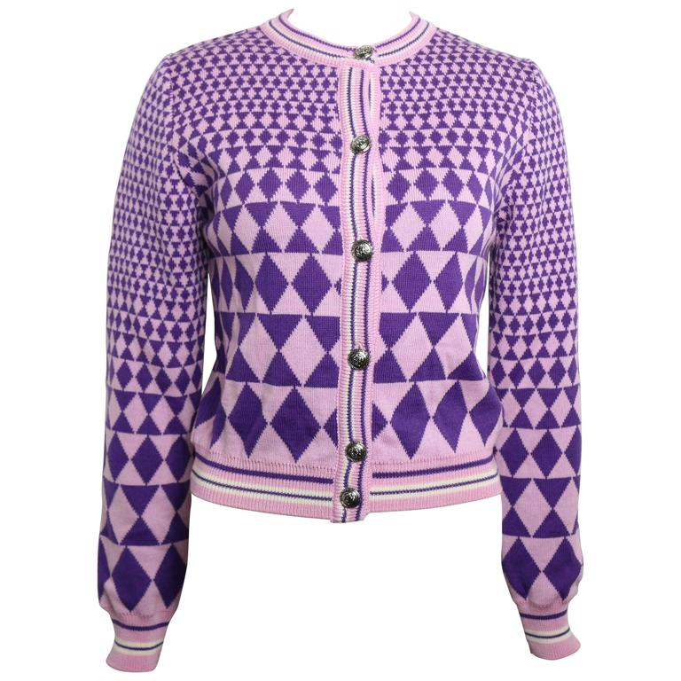 Gianni Versace Sport Geometric Purple Cropped Cardigan Sweater For Sale