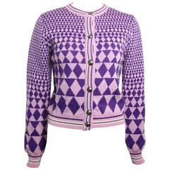 Gianni Versace Sport Geometric Purple Cropped Cardigan Sweater