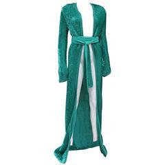 Dolce & Gabbana full length sequinned knitted evening dress coat