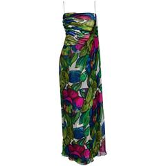 1960's Will Steinman Colorful Floral Draped Silk-Chiffon Grecian Goddess Gown