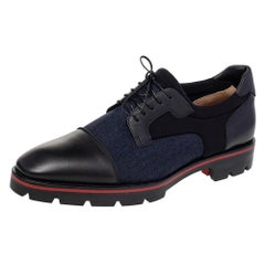 Christian Louboutin Leather, Denim, And Neoprene Lace Up Sky Derby Size 44