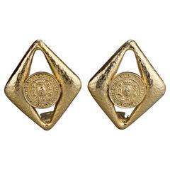 Vintage PIERRE BALMAIN Diamond Coin Earrings