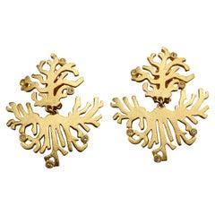 Vintage BALENCIAGA Gilt Coral Rhinestone Dangling Earrings