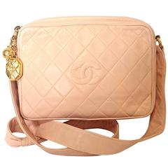 Vintage CHANEL milky pink lambskin camera bag style shoulder bag with golden CC