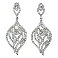 Swarovski Silver Tone Long Crystal Chandelier Earrings