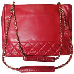 Vintage CHANEL red calfskin classic shoulder tote bag with gold tone chains