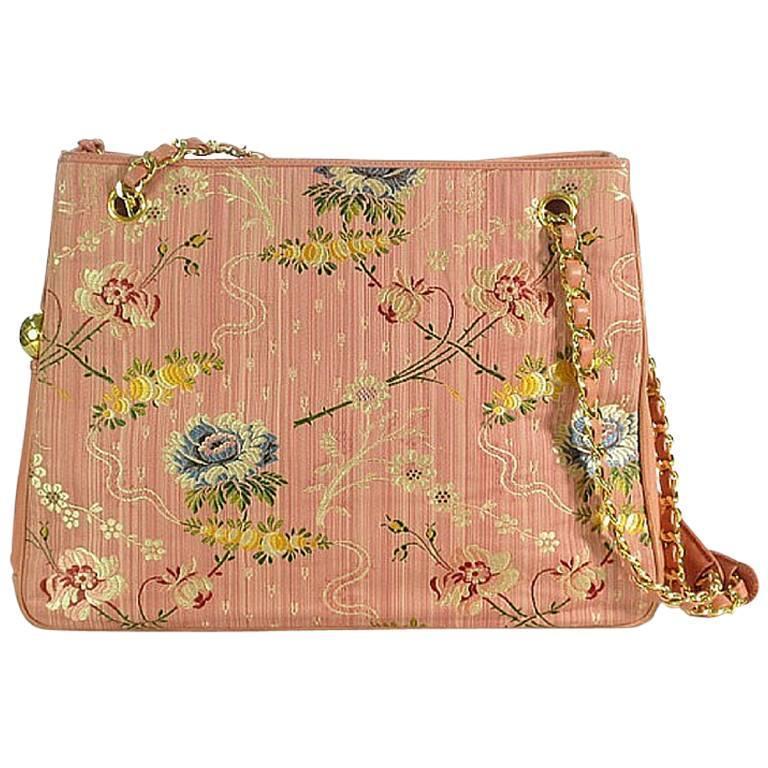 adee4212bea2 Vintage CHANEL Japanese kimono, obi fabric and pink leather chain tote bag.  Rare at