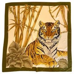Salvatore Ferragamo 80's Print Tiger Foulard