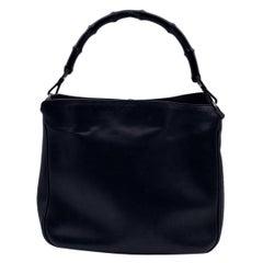Gucci Black Leather Bamboo Handle Tote Handbag