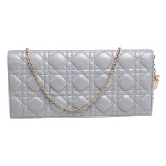 Dior Grey Quilted Cannage Leather Lady Dior Chain Clutch