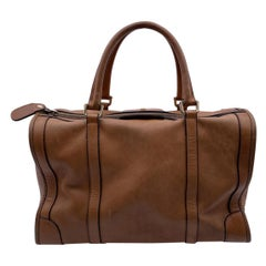 Gucci Vintage Beige Leather Boston Bag Satchel Handbag