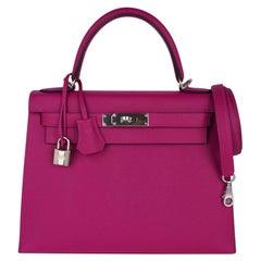 Hermes Kelly 28 Bag Rose Pourpre Sellier Epsom Palladium Hardware New w/Box