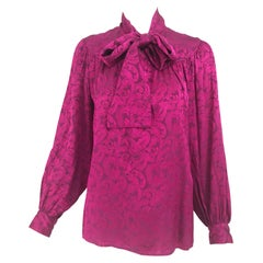 Yves Saint Laurent Fuchsia Silk Jacquard Bow Tie Blouse 1980s
