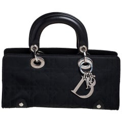 Dior Black Cannage Nylon and Leather Mini Lady Dior East West Tote
