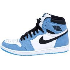 Nike Blue/White Leather Air Jordan 1 Retro University High Top Sneakers Size 45.