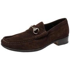 Gucci Dark Brown Suede Horsebit Loafers Size 42