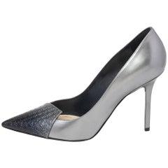 Dior Metallic Silver/Blue Leather Cannage Cap Toe Spade Pumps Size 40