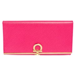 Salvatore Ferragamo Pink Leather Gancini Clip Continental Wallet