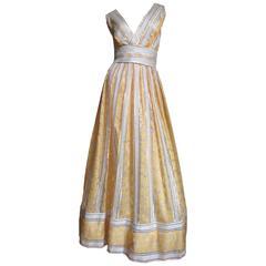 1960s British Hong Kong Silk Plunge Gown