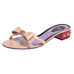 Gucci Multicolor Patent Leather GG Bow Sadie Spike Slide Sandals Size 40