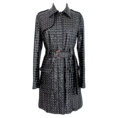 John Richmond Glossy Black Quilted Trench Coat