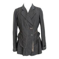 Marithe Francois Girbaud Black Beige Cotton Striped Jacket