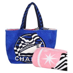 Chanel Blue, White & Black Towelling La Pausa Beach Tote with Beach Towel