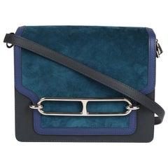 Hermes Ocean Blue Veau Doblis Suede, Navy Leather & Blue Saphir Swift Roulis 23