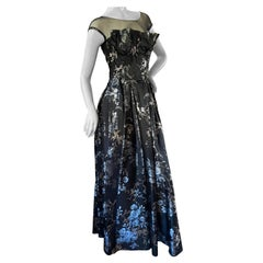 Oscar de la Renta by Peter Copping Silver and Black Floral Corset Evening Dress