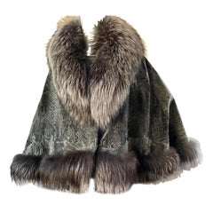 Gray Fox Trimmed Voluminous Vintage Cape with 80 Inch Sweep from Rome