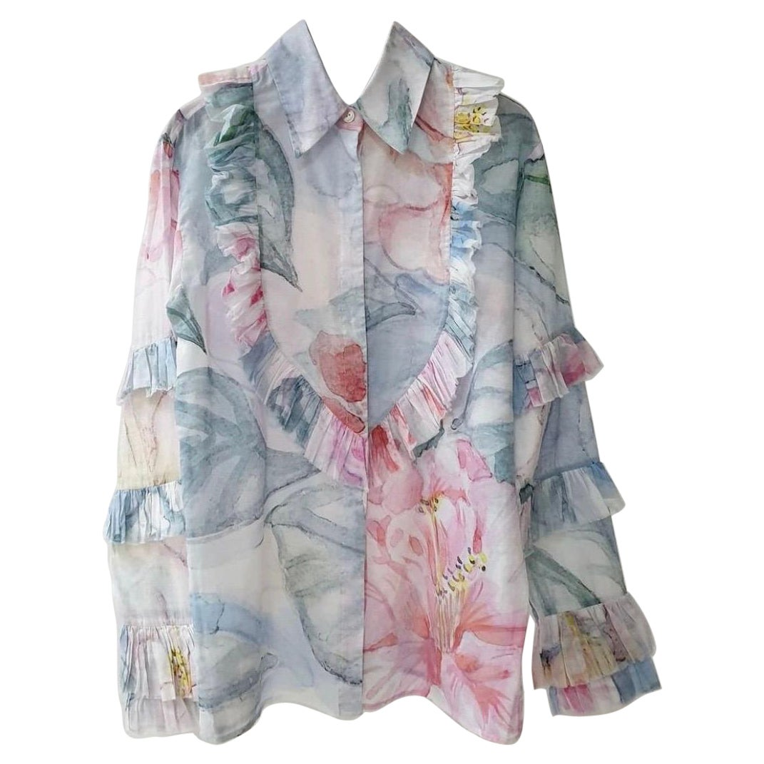 Chanel Multicolor Floral Watercolor Print Ruffle Cotton Blouse
