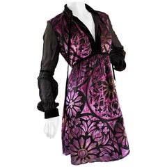 Just Cavalli Vintage Purple Velvet Stain Glass Cocktail Dress by Roberto Cavalli