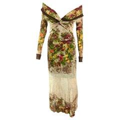 Jean Paul Gaultier S/S 1999 Runway Vintage Floral Semi-Sheer Off Shoulder Dress
