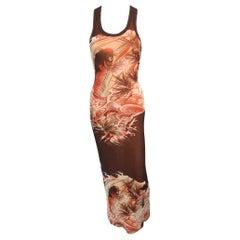 Jean Paul Gaultier Soleil Vintage Japanese Koi Fish Mesh Bodycon Maxi Dress