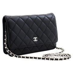 CHANEL Black Classic WOC Wallet On Chain Shoulder Crossbody Bag