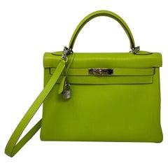 Hermes Kelly 32 Lime Candy Vert Bag
