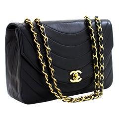 CHANEL Half Moon Chain Shoulder Bag Black Quilted Single Flap Lamb