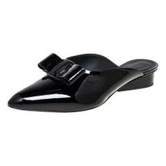 Salvatore Ferragamo Black Patent Leather Viva Mules Size 40.5