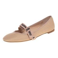 Dior Beige Technical Fabric Miss J' Adior Ballerina Flats Size 40