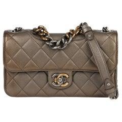 Chanel Bronze Quilted Metallic Goatskin Leather Medium Perfect Edge Flap Bag
