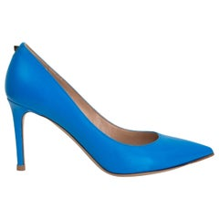 VALENTINO cyan blue leather ROCKSTUD 85 Pointed Toe Pumps Shoes 37.5