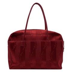 Yves Saint Laurent Red Striped Canvas Logo Tote Shoulder Bag