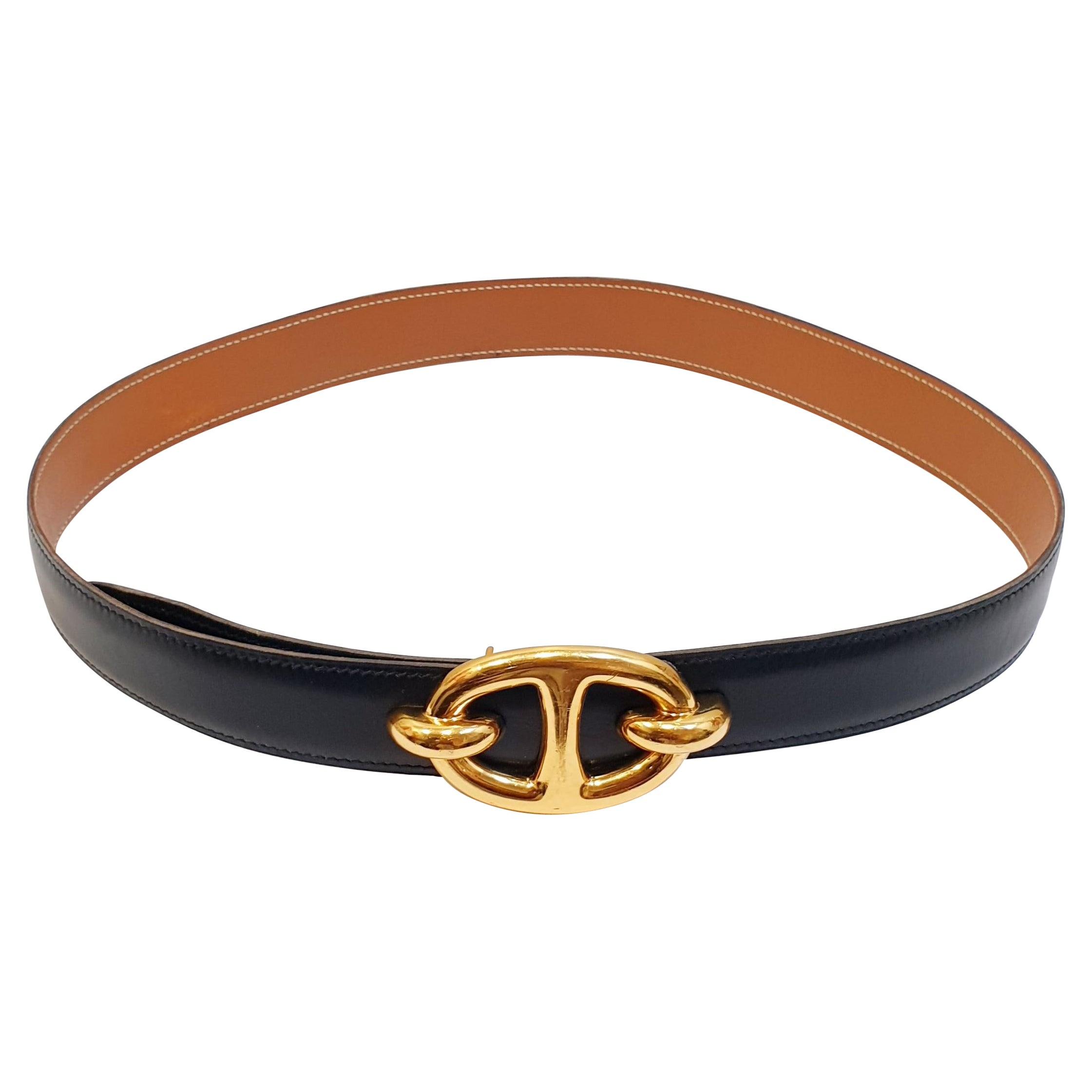 """Hermes """"Chaine d'ancre¨""""  anchor  buckle in black and camel reversable belt"""