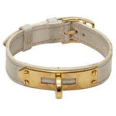 Hermes White 2002 Kelley Leather Bracelet