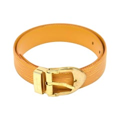 1990's Louis Vuitton Yellow Epi Leather Ceinture with Gold Buckle  Belt