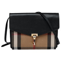 Burberry Black House Check Canvas And Leather Macken Crossbody Bag