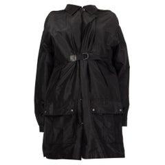 BOTTEGA VENETA black silk BUCKLE FRONT Coat Jacket 42 M